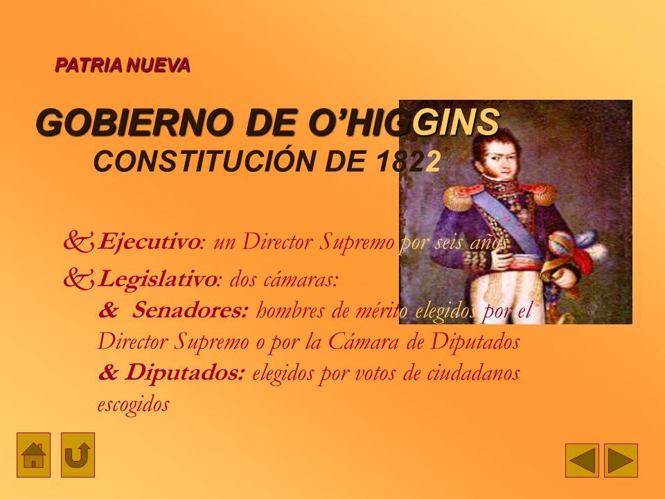 GOBIERNO DE OHIGGINS GOBIERNO DE OHIGGINS CONSTITUCIÓN DE 1822 Ejecutivo: un Director Supremo por seis años Legislativo: dos cámaras: & Senadores: hom