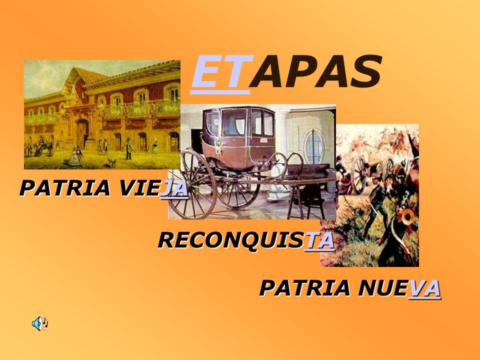 ETETAPAS PATRIA NUEVA VA RECONQUISTA TA PATRIA VIEJA JA