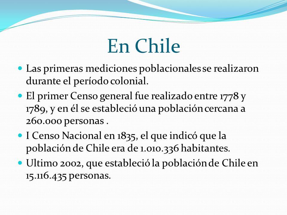 En Chile Las primeras mediciones poblacionales se realizaron durante el período colonial. El primer Censo general fue realizado entre 1778 y 1789, y e