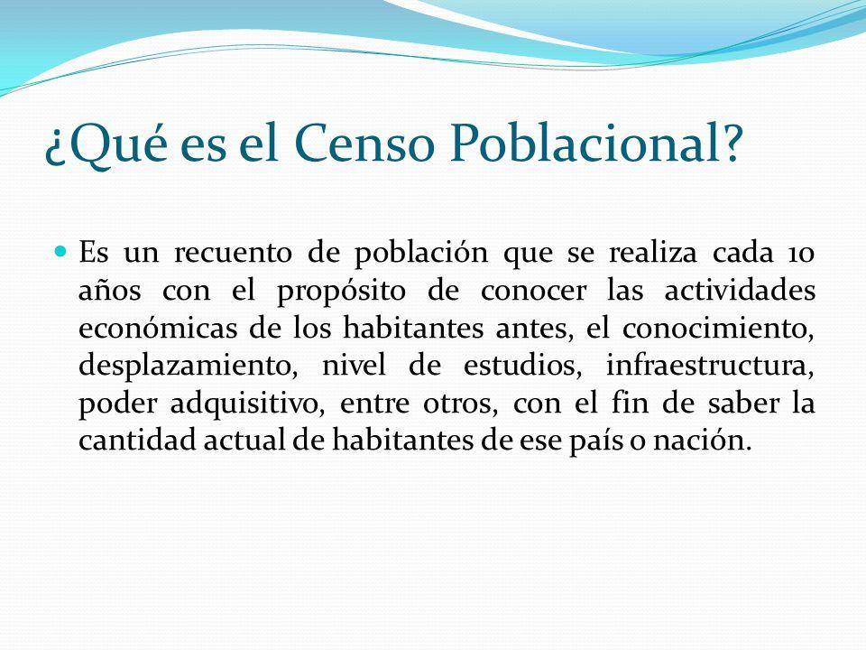 ¿Qué es el Censo Poblacional? Es un recuento de población que se realiza cada 10 años con el propósito de conocer las actividades económicas de los ha