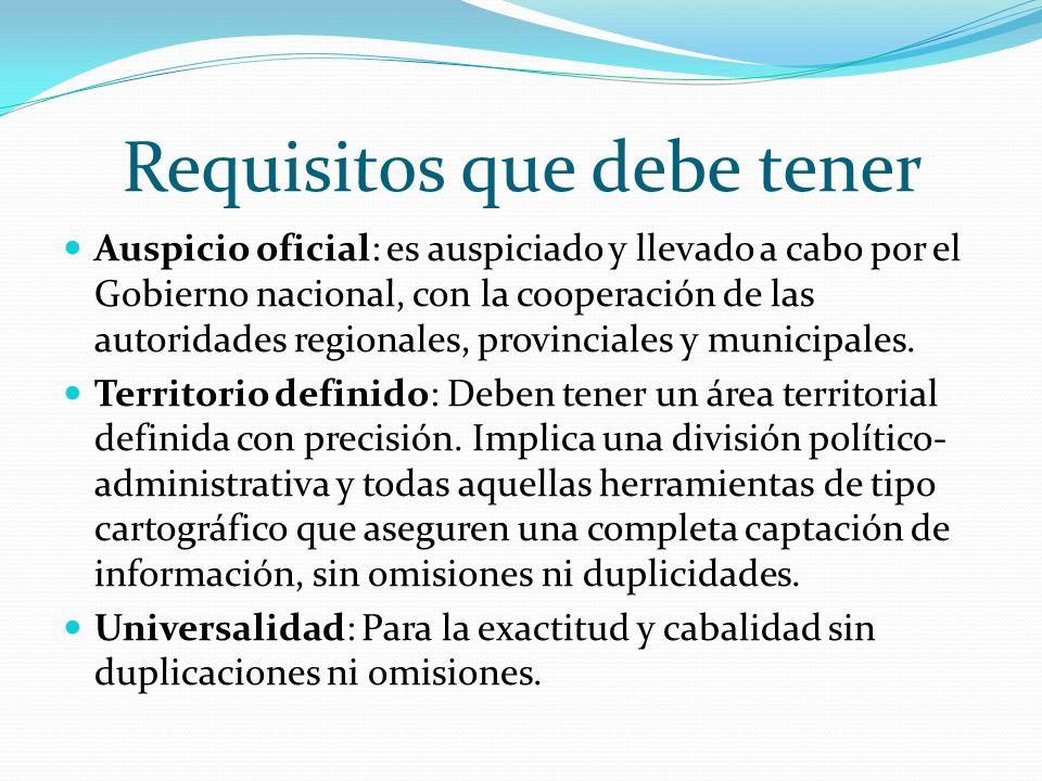 Requisitos que debe tener Auspicio oficial: es auspiciado y llevado a cabo por el Gobierno nacional, con la cooperación de las autoridades regionales,