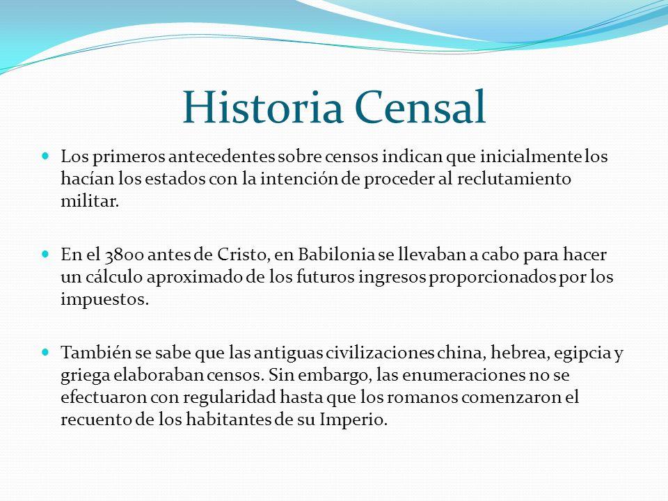 Historia Censal Los primeros antecedentes sobre censos indican que inicialmente los hacían los estados con la intención de proceder al reclutamiento m