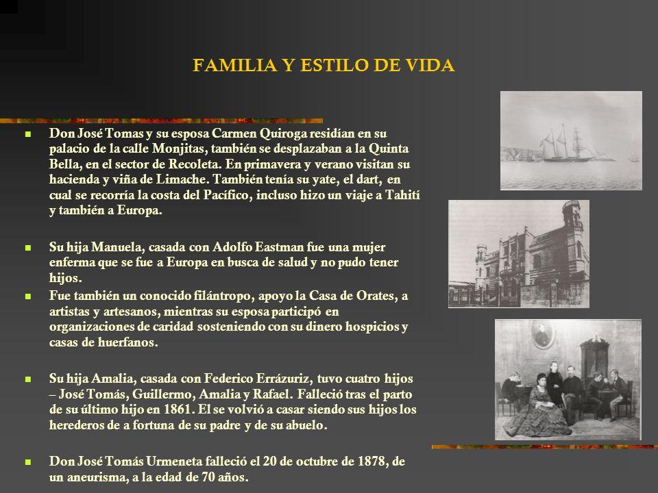 FAMILIA Y ESTILO DE VIDA Don José Tomas y su esposa Carmen Quiroga residían en su palacio de la calle Monjitas, también se desplazaban a la Quinta Bella, en el sector de Recoleta.