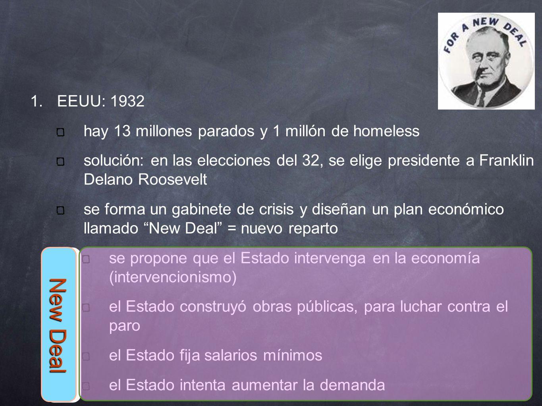 1. EEUU: 1932 hay 13 millones parados y 1 millón de homeless solución: en las elecciones del 32, se elige presidente a Franklin Delano Roosevelt se fo