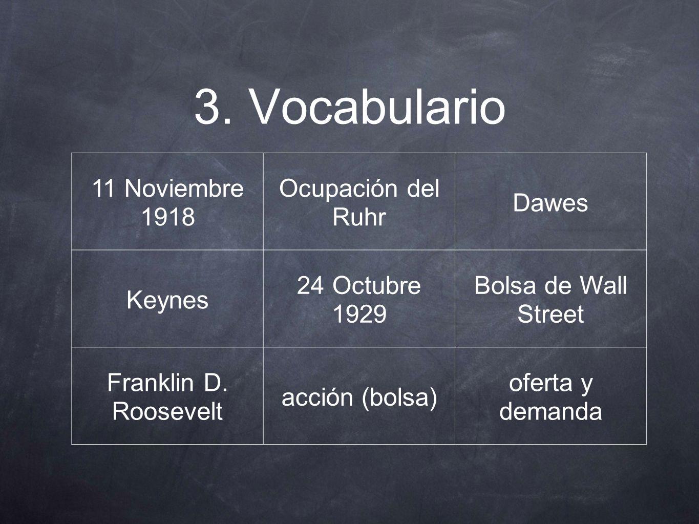 3. Vocabulario 11 Noviembre 1918 Ocupación del Ruhr Dawes Keynes 24 Octubre 1929 Bolsa de Wall Street Franklin D. Roosevelt acción (bolsa) oferta y de