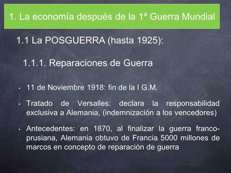 1. La economía después de la 1ª Guerra Mundial 11 de Noviembre 1918: fin de la I G.M. Tratado de Versalles: declara la responsabilidad exclusiva a Ale