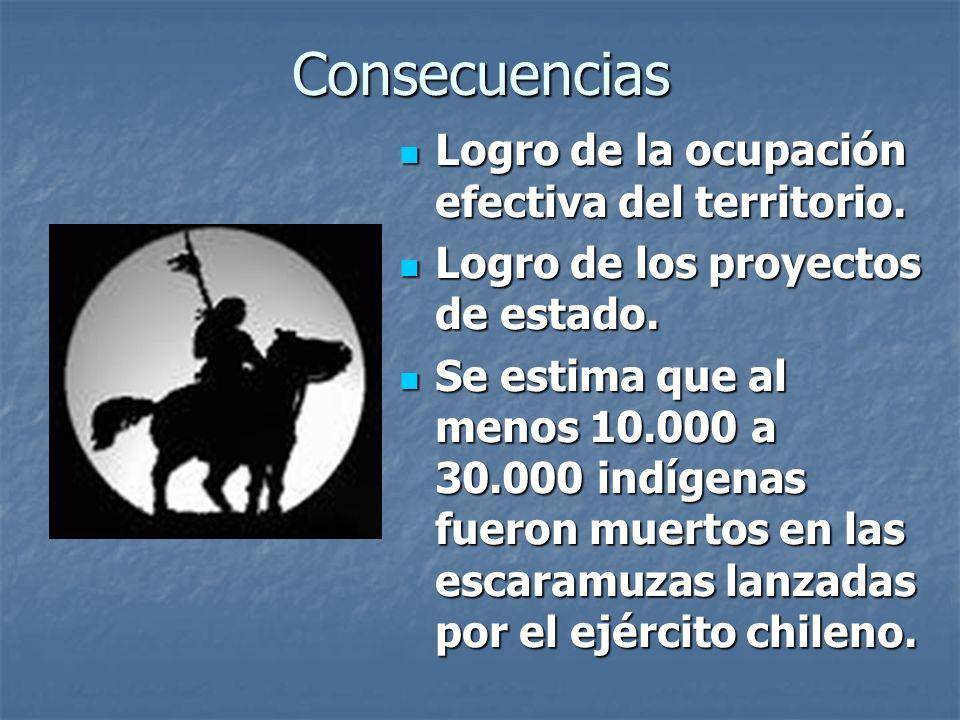 Consecuencias Logro de la ocupación efectiva del territorio.