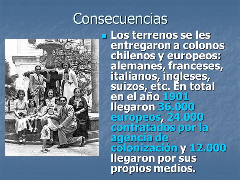 Consecuencias Los terrenos se les entregaron a colonos chilenos y europeos: alemanes, franceses, italianos, ingleses, suizos, etc.
