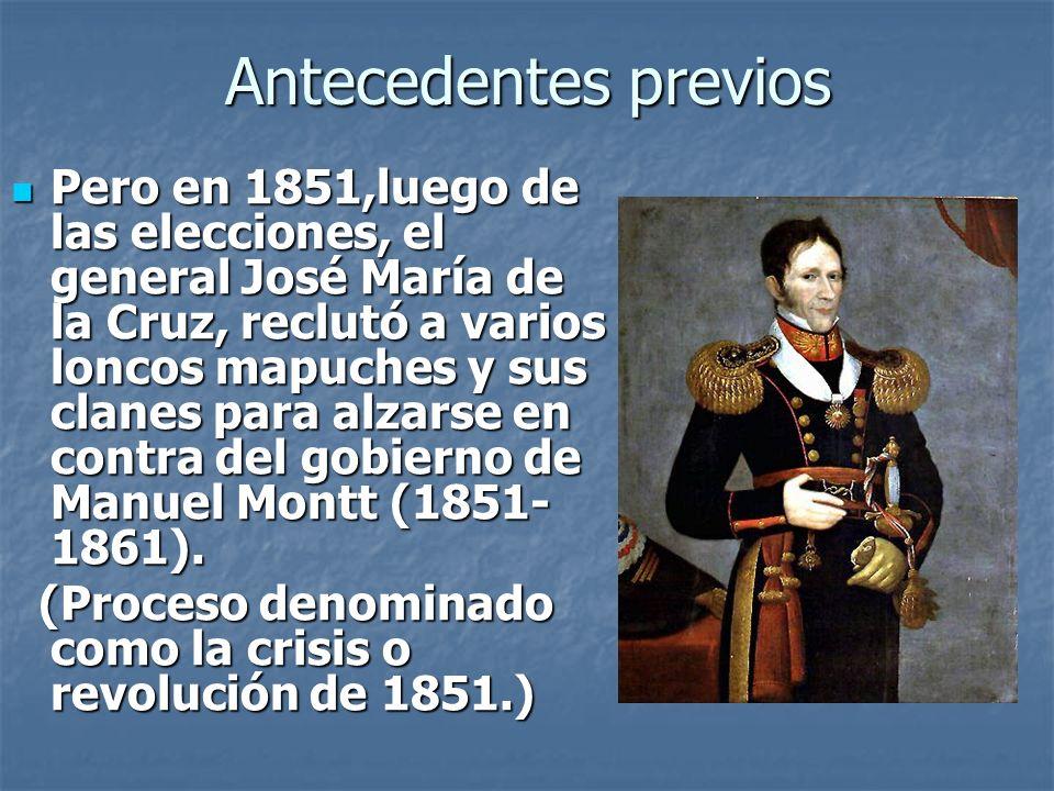 Antecedentes previos Esto motivó al gobierno de Montt a movilizar a un batallón; siendo aplastados por el gobierno de Montt.