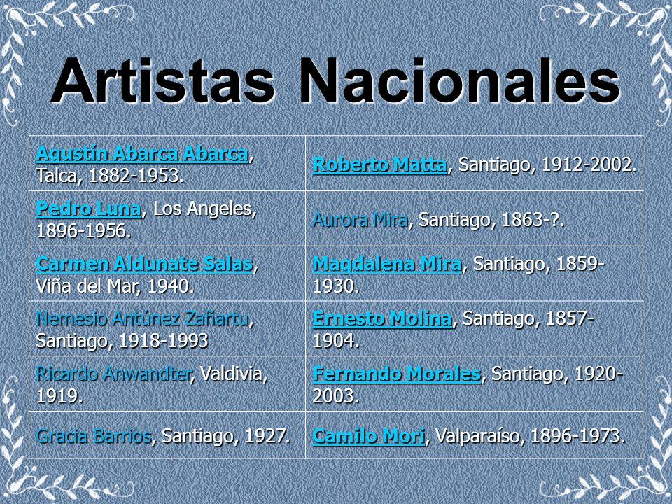 Artistas Nacionales Agustín Abarca Agustín Abarca Abarca, Talca, 1882-1953. Agustín Abarca Roberto MattaRoberto Matta, Santiago, 1912-2002. Roberto Ma