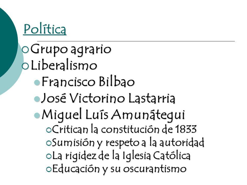 Política Grupo agrario Grupo agrario Liberalismo Liberalismo Francisco Bilbao Francisco Bilbao José Victorino Lastarria José Victorino Lastarria Migue