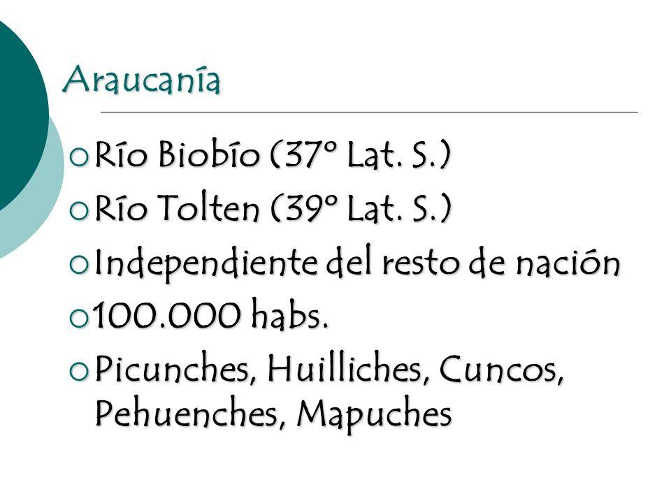 Araucanía Río Biobío (37º Lat. S.) Río Biobío (37º Lat. S.) Río Tolten (39º Lat. S.) Río Tolten (39º Lat. S.) Independiente del resto de nación Indepe
