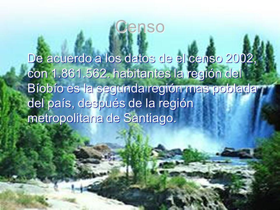 Censo De acuerdo a los datos de el censo 2002, con 1.861.562. habitantes la región del Bíobío es la segunda región mas poblada del país, después de la
