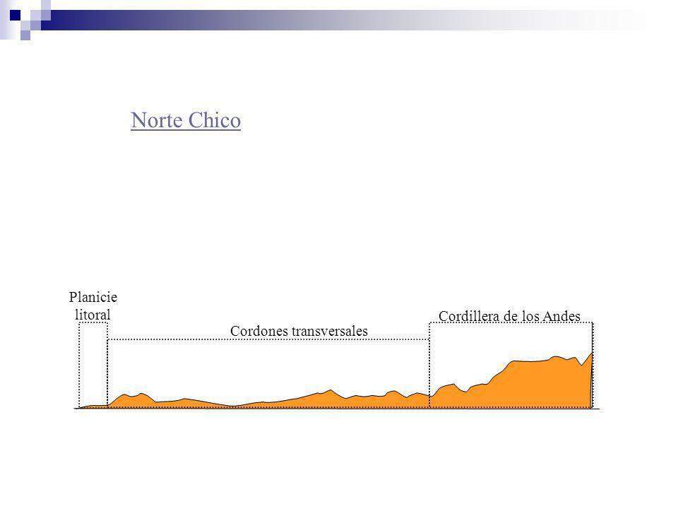 Norte Chico Planicie litoral Cordones transversales Cordillera de los Andes