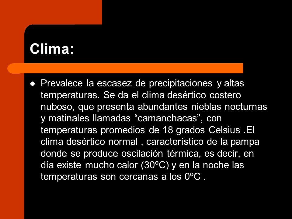 Clima: Prevalece la escasez de precipitaciones y altas temperaturas. Se da el clima desértico costero nuboso, que presenta abundantes nieblas nocturna