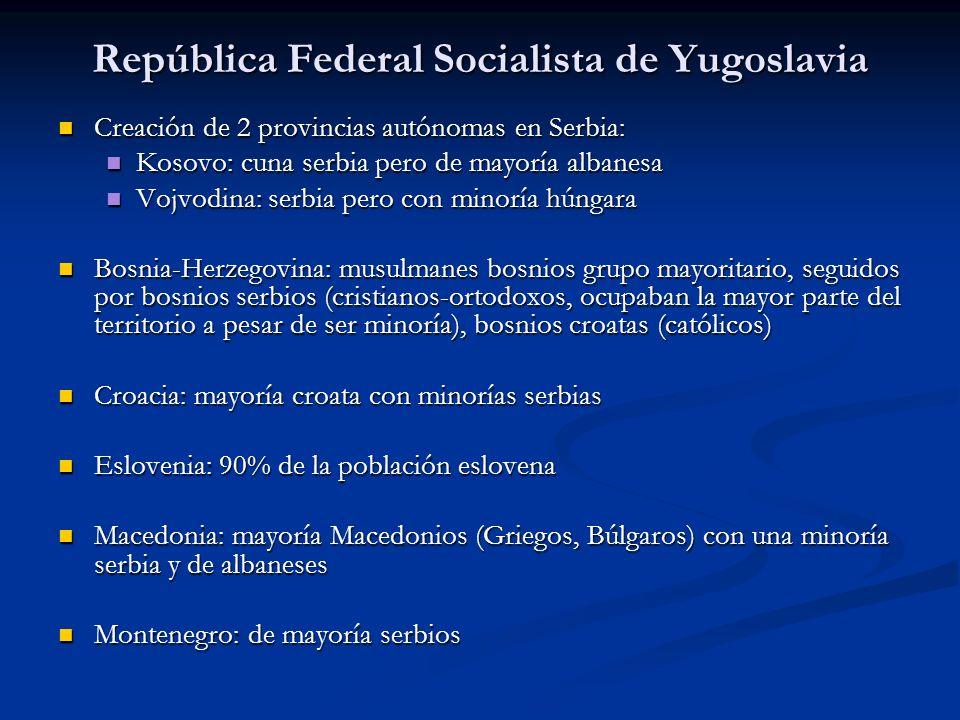 República Federal Socialista de Yugoslavia Creación de 2 provincias autónomas en Serbia: Creación de 2 provincias autónomas en Serbia: Kosovo: cuna se