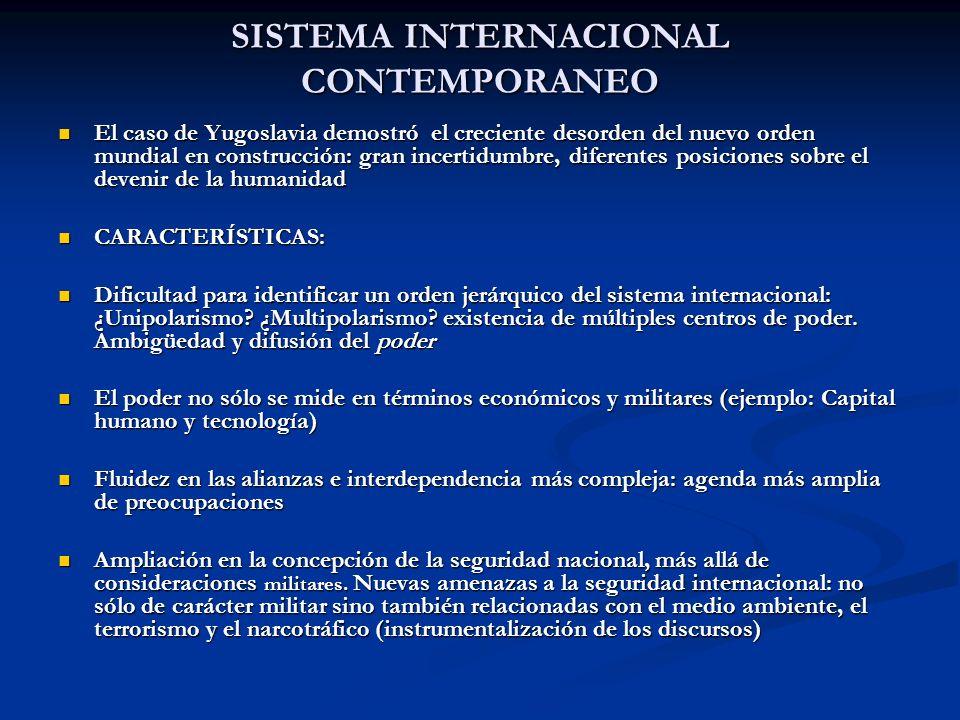 SISTEMA INTERNACIONAL CONTEMPORANEO El caso de Yugoslavia demostró el creciente desorden del nuevo orden mundial en construcción: gran incertidumbre,