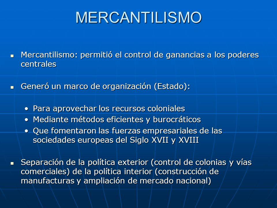 Principios del mercantilismo 1.La prosperidad nacional es función de la creación de un tesoro monetario (a partir de la acumulación de metales preciosos que se da con el comercio exterior) 2.
