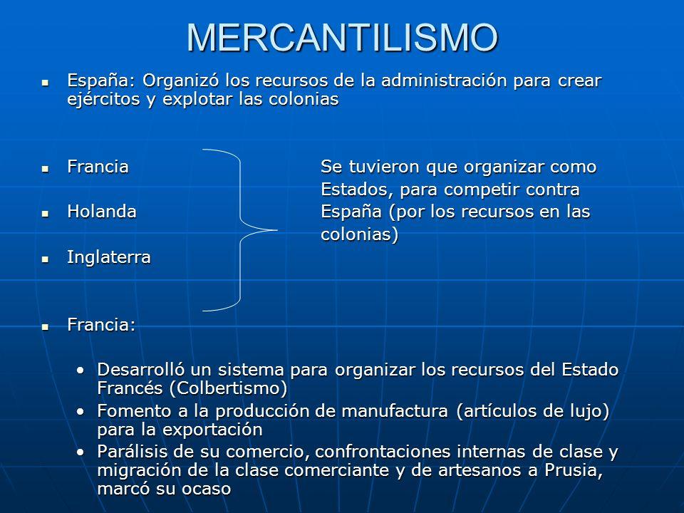 MERCANTILISMO España: Organizó los recursos de la administración para crear ejércitos y explotar las colonias España: Organizó los recursos de la admi
