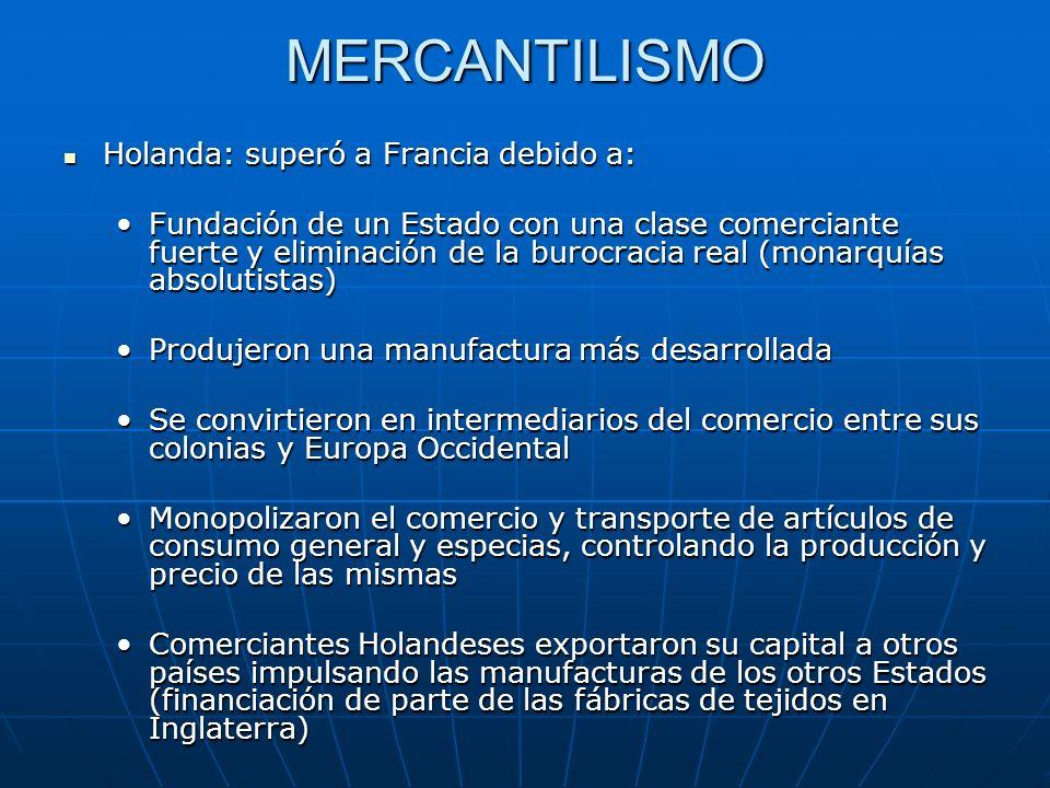 MERCANTILISMO Holanda: superó a Francia debido a: Holanda: superó a Francia debido a: Fundación de un Estado con una clase comerciante fuerte y elimin