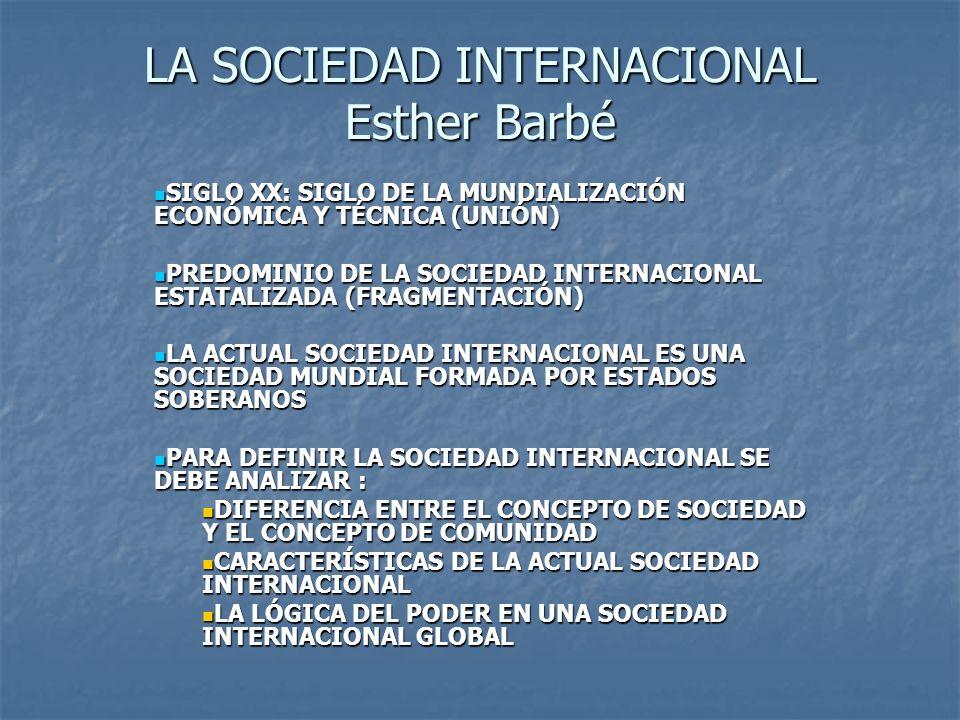LA SOCIEDAD INTERNACIONAL Esther Barbé SIGLO XX: SIGLO DE LA MUNDIALIZACIÓN ECONÓMICA Y TÉCNICA (UNIÓN) SIGLO XX: SIGLO DE LA MUNDIALIZACIÓN ECONÓMICA