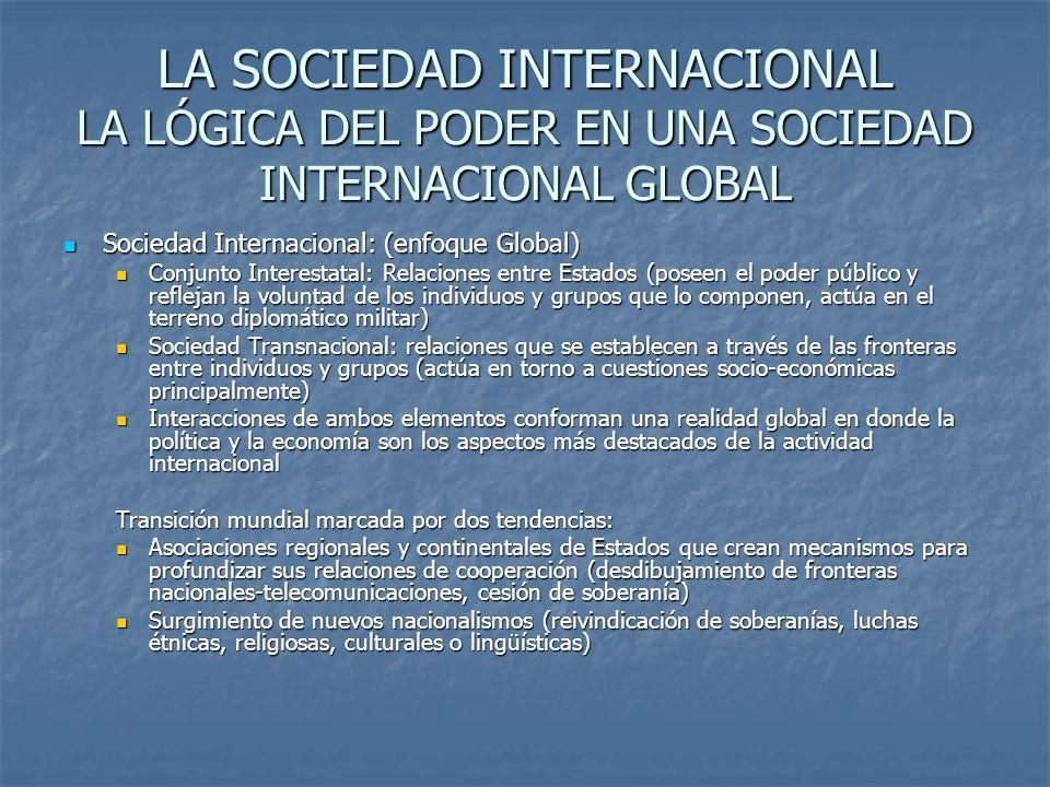 LA SOCIEDAD INTERNACIONAL LA LÓGICA DEL PODER EN UNA SOCIEDAD INTERNACIONAL GLOBAL Sociedad Internacional: (enfoque Global) Sociedad Internacional: (e