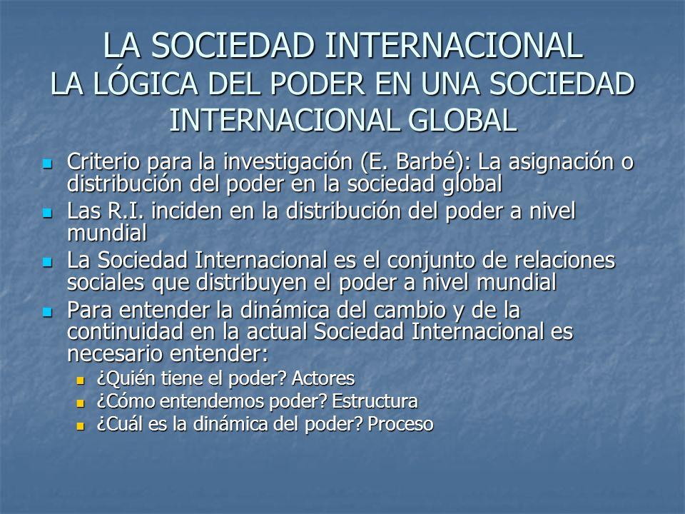 LA SOCIEDAD INTERNACIONAL LA LÓGICA DEL PODER EN UNA SOCIEDAD INTERNACIONAL GLOBAL Criterio para la investigación (E. Barbé): La asignación o distribu