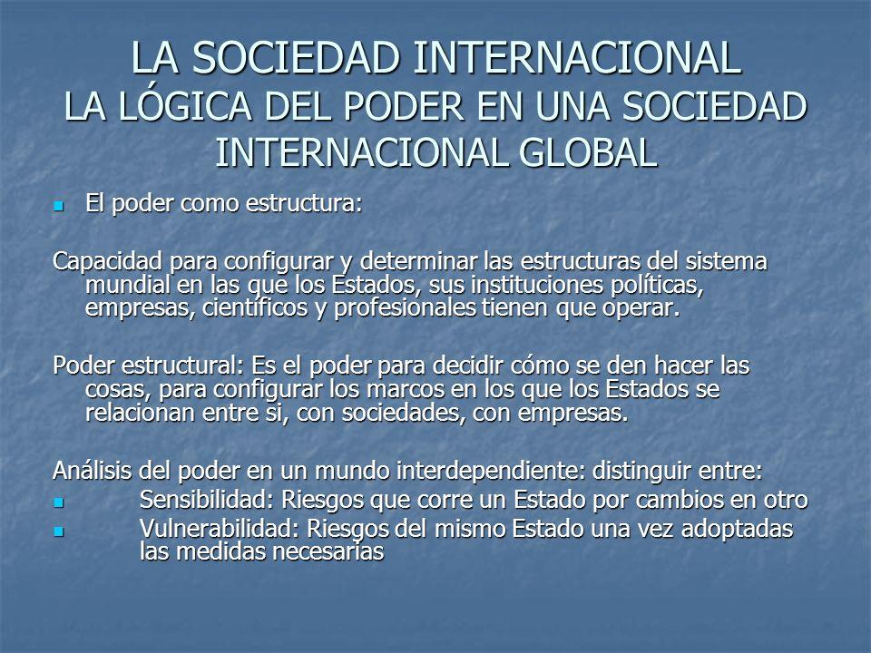 LA SOCIEDAD INTERNACIONAL LA LÓGICA DEL PODER EN UNA SOCIEDAD INTERNACIONAL GLOBAL El poder como estructura: El poder como estructura: Capacidad para
