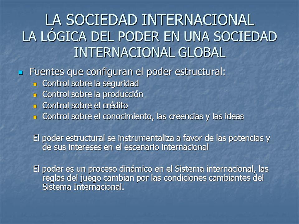 LA SOCIEDAD INTERNACIONAL LA LÓGICA DEL PODER EN UNA SOCIEDAD INTERNACIONAL GLOBAL Fuentes que configuran el poder estructural: Fuentes que configuran