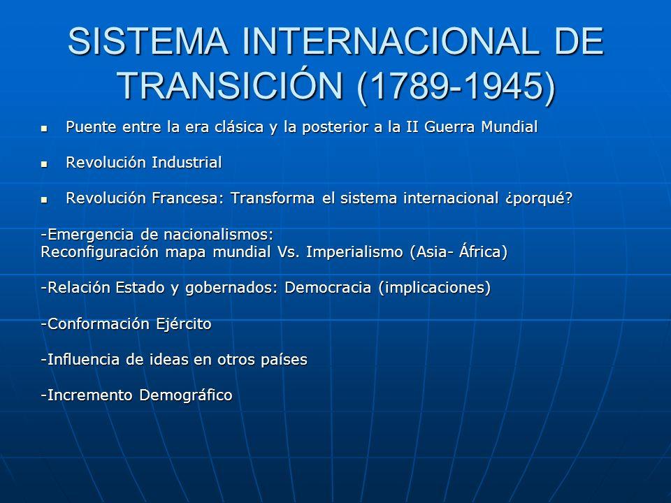 SISTEMA INTERNACIONAL DE TRANSICIÓN (1789-1945) Puente entre la era clásica y la posterior a la II Guerra Mundial Puente entre la era clásica y la pos