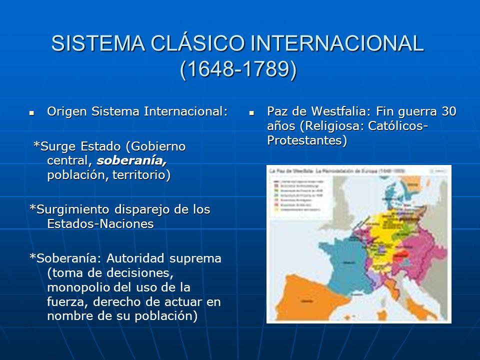 SISTEMA CLÁSICO INTERNACIONAL (1648-1789) Origen Sistema Internacional: Origen Sistema Internacional: *Surge Estado (Gobierno central, soberanía, pobl
