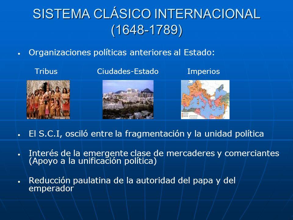 SISTEMA CLÁSICO INTERNACIONAL (1648-1789) Organizaciones políticas anteriores al Estado: Tribus Ciudades-Estado Imperios El S.C.I, osciló entre la fra