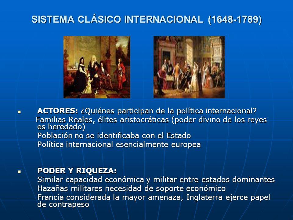 SISTEMA CLÁSICO INTERNACIONAL (1648-1789) ACTORES: ¿Quiénes participan de la política internacional? ACTORES: ¿Quiénes participan de la política inter