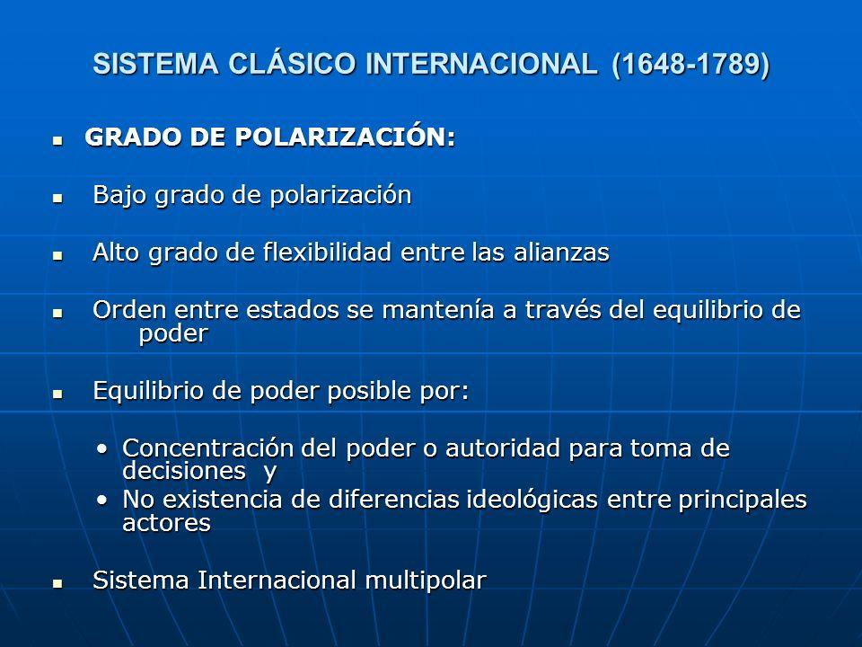 SISTEMA CLÁSICO INTERNACIONAL (1648-1789) GRADO DE POLARIZACIÓN: GRADO DE POLARIZACIÓN: Bajo grado de polarización Bajo grado de polarización Alto gra