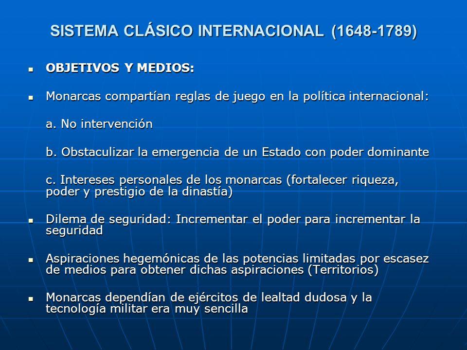 SISTEMA CLÁSICO INTERNACIONAL (1648-1789) OBJETIVOS Y MEDIOS: OBJETIVOS Y MEDIOS: Monarcas compartían reglas de juego en la política internacional: Mo
