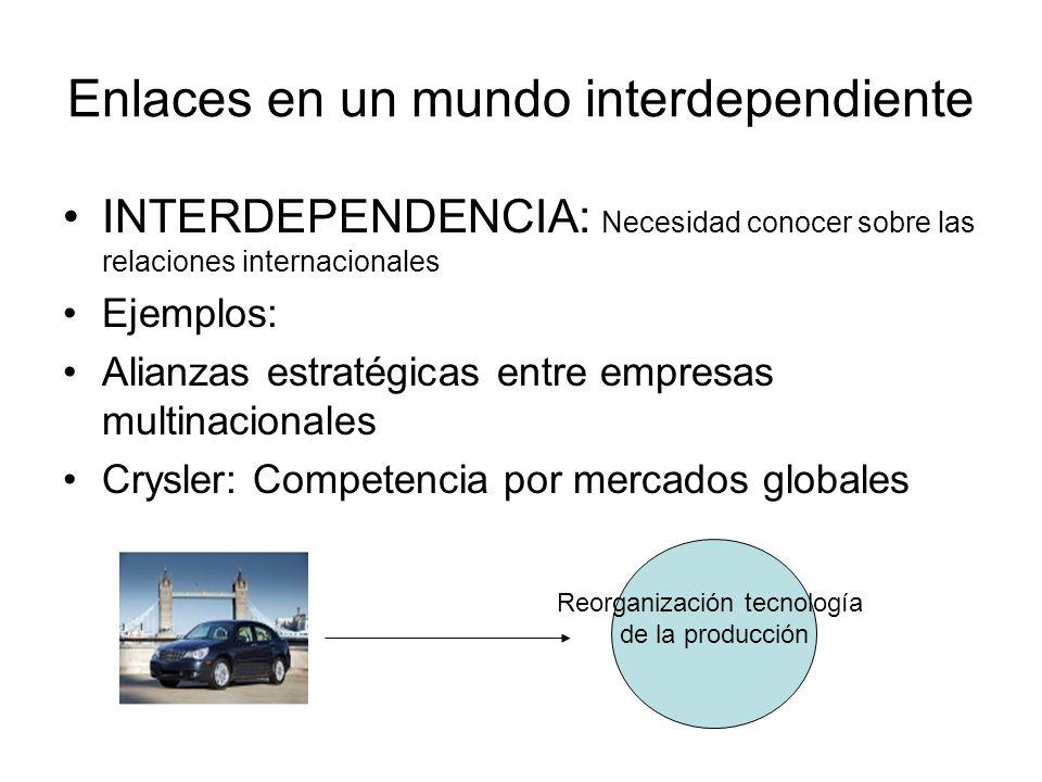 Enlaces en un mundo interdependiente INTERDEPENDENCIA: Necesidad conocer sobre las relaciones internacionales Ejemplos: Alianzas estratégicas entre em