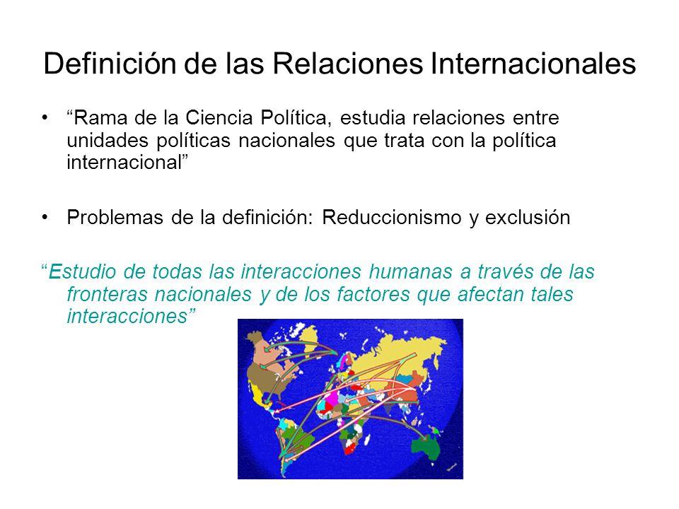 Definición de las Relaciones Internacionales Rama de la Ciencia Política, estudia relaciones entre unidades políticas nacionales que trata con la polí