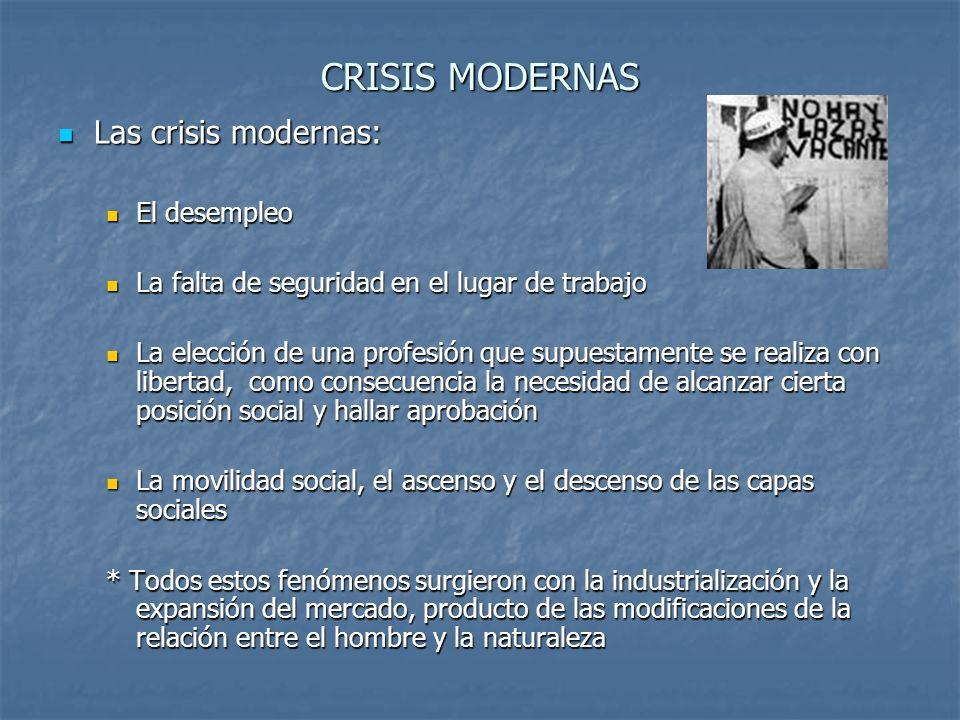 CRISIS MODERNAS Las crisis modernas: Las crisis modernas: El desempleo El desempleo La falta de seguridad en el lugar de trabajo La falta de seguridad