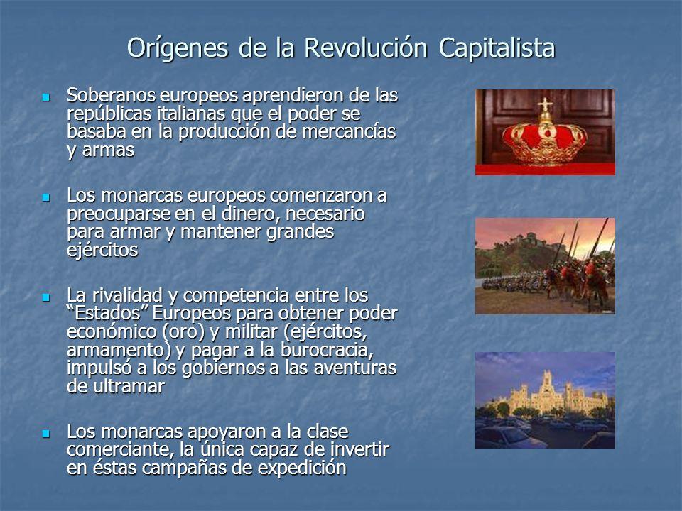 Orígenes de la Revolución Capitalista Soberanos europeos aprendieron de las repúblicas italianas que el poder se basaba en la producción de mercancías