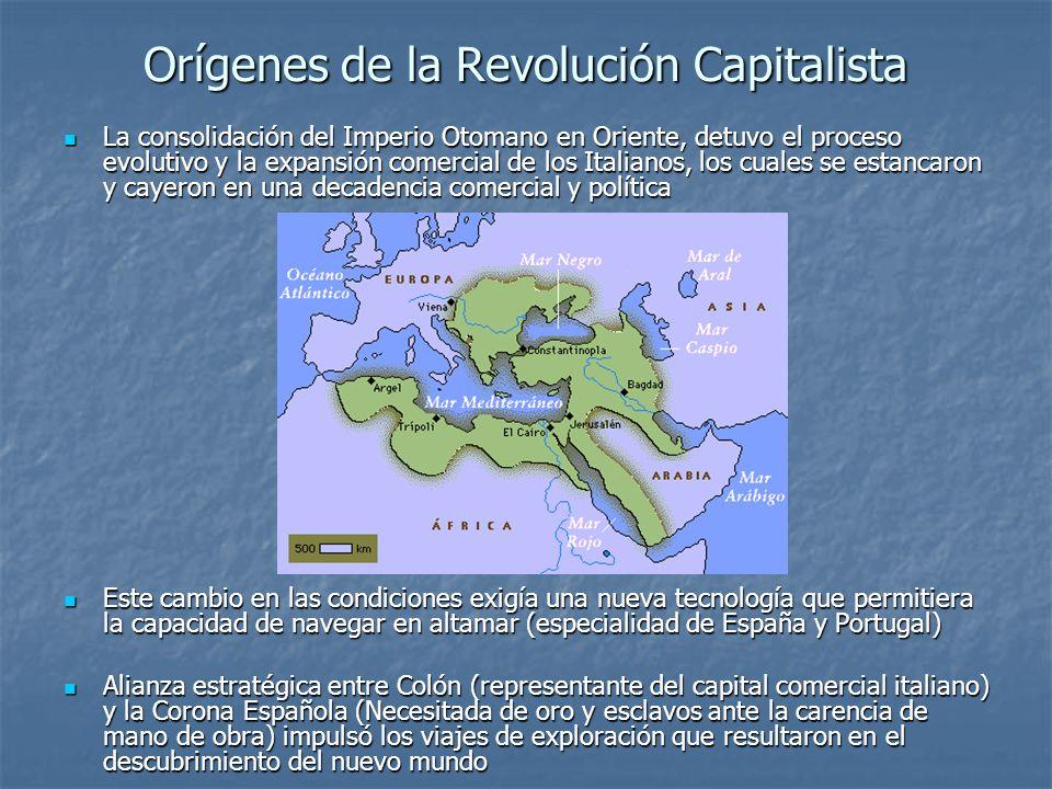 Orígenes de la Revolución Capitalista La consolidación del Imperio Otomano en Oriente, detuvo el proceso evolutivo y la expansión comercial de los Ita