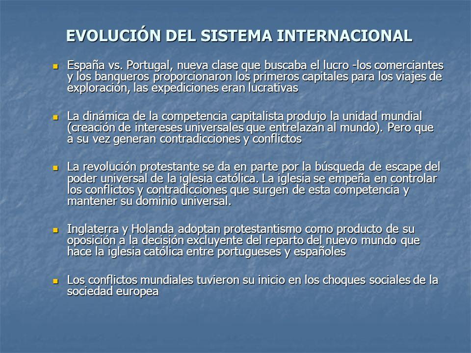EVOLUCIÓN DEL SISTEMA INTERNACIONAL España vs. Portugal, nueva clase que buscaba el lucro -los comerciantes y los banqueros proporcionaron los primero