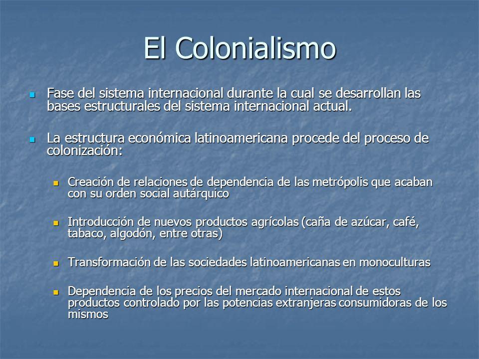 El Colonialismo Fase del sistema internacional durante la cual se desarrollan las bases estructurales del sistema internacional actual. Fase del siste