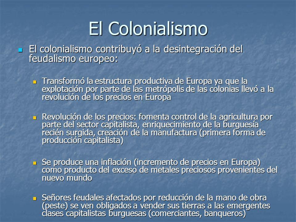 El Colonialismo El colonialismo contribuyó a la desintegración del feudalismo europeo: El colonialismo contribuyó a la desintegración del feudalismo e