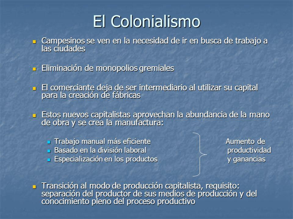 El Colonialismo Campesinos se ven en la necesidad de ir en busca de trabajo a las ciudades Campesinos se ven en la necesidad de ir en busca de trabajo