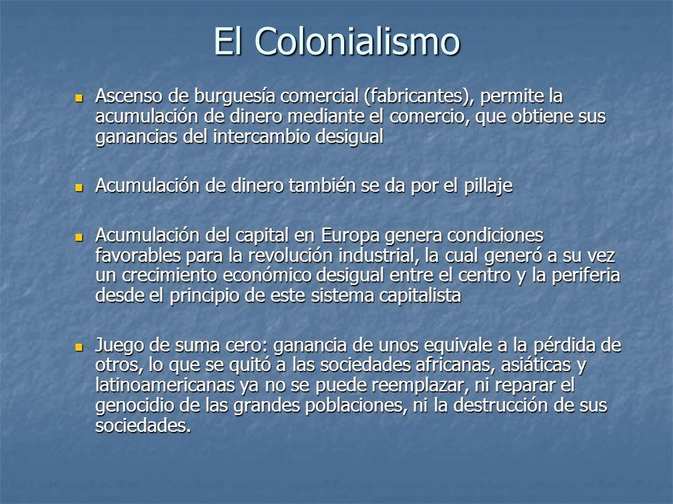 El Colonialismo Ascenso de burguesía comercial (fabricantes), permite la acumulación de dinero mediante el comercio, que obtiene sus ganancias del int