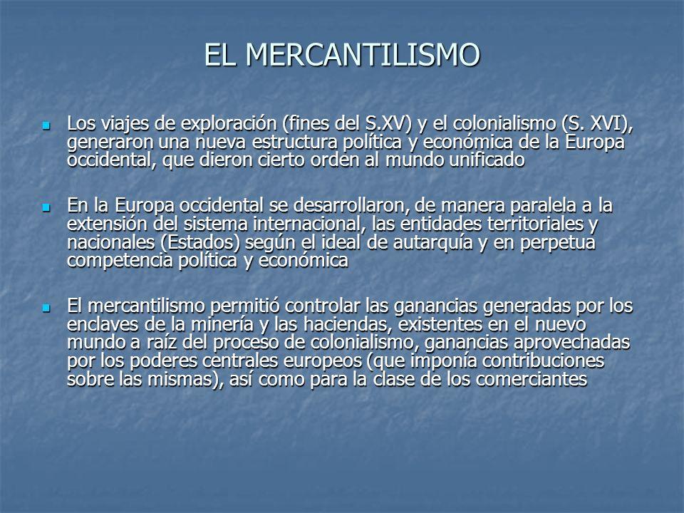 EL MERCANTILISMO Los viajes de exploración (fines del S.XV) y el colonialismo (S. XVI), generaron una nueva estructura política y económica de la Euro