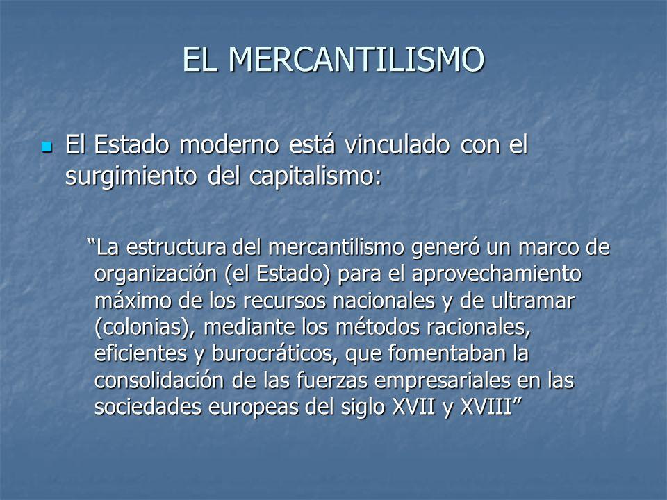 EL MERCANTILISMO El Estado moderno está vinculado con el surgimiento del capitalismo: El Estado moderno está vinculado con el surgimiento del capitali