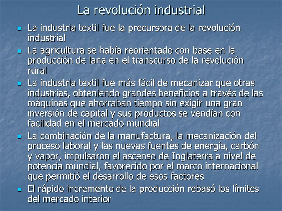 La revolución industrial La industria textil fue la precursora de la revolución industrial La industria textil fue la precursora de la revolución indu