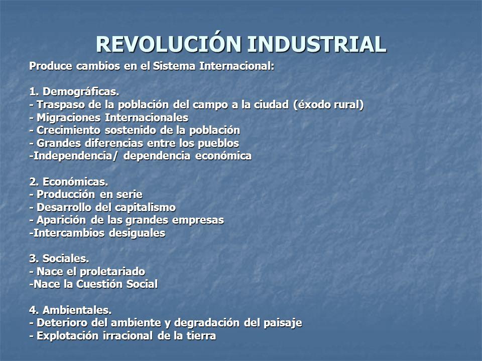 REVOLUCIÓN INDUSTRIAL Produce cambios en el Sistema Internacional: 1. Demográficas. - Traspaso de la población del campo a la ciudad (éxodo rural) - M