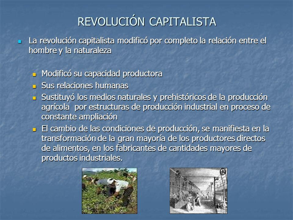 REVOLUCIÓN CAPITALISTA La revolución capitalista, constituyó un fenómeno tanto económico como sociopolítico, modificó las costumbres y valores de algunos individuos y grupos.